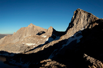 Sawtooth Peak (12,343 feet, right) as seen from Sawtooth Pass.