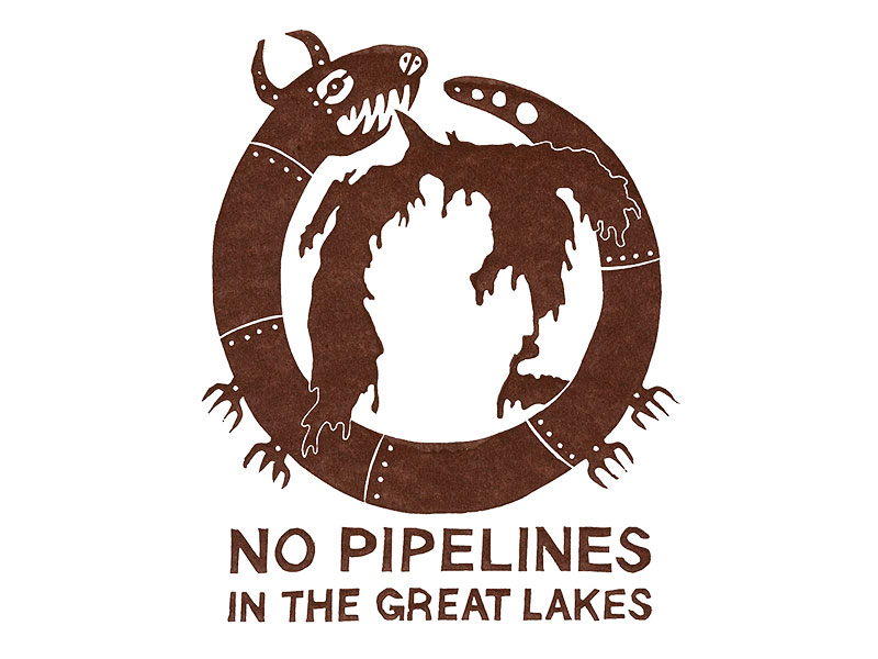 No Pipelines in the Great Lakes by Dylan A. T. Miner, Justseeds Artists' Cooperative, 2020.