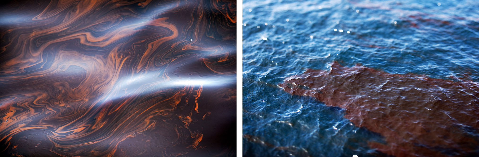 Pools of oil float in the Gulf of Mexico a week after the Deepwater Horizon disaster.