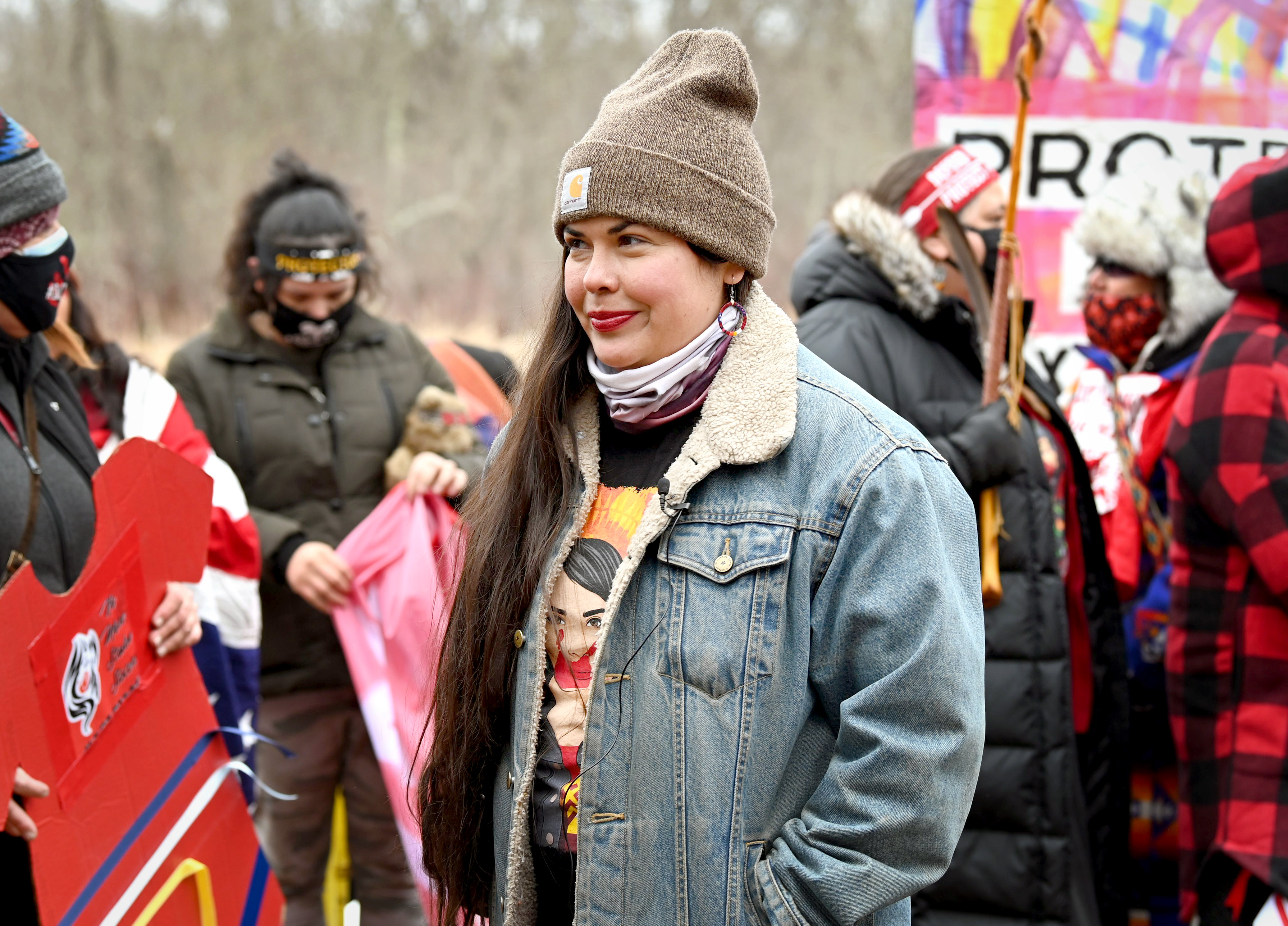 Tara Houska attends a March 15 protest against Line 3 construction.