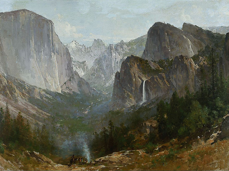 Indians at Campfire, Yosemite Valley