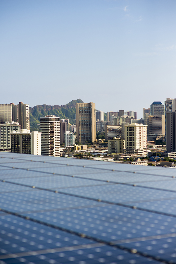 Solar panels on the roof of the Kapiʻolani Medical Center parking garage in Oahu, Hawaiʻi.