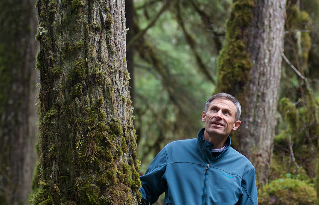 Tom Waldo, in the forest on Douglas Island near Juneau, Alaska.