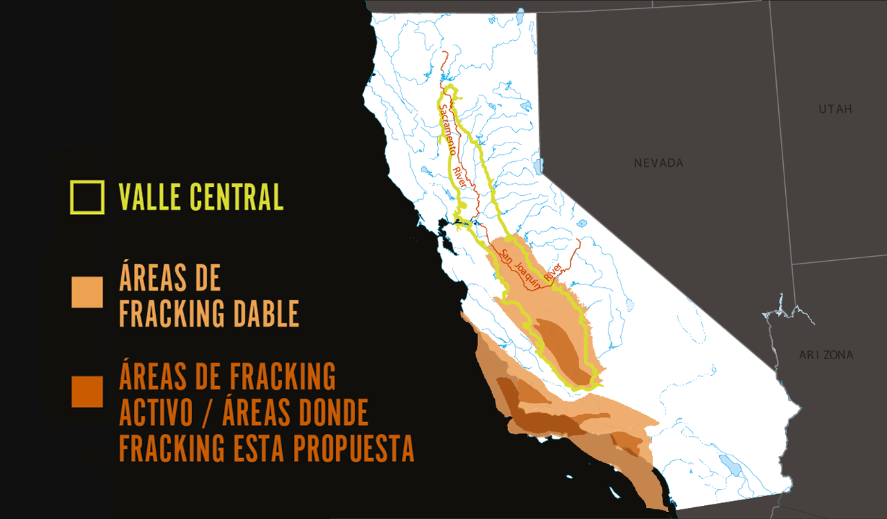 Map of areas of potential and active/proposed fracking.