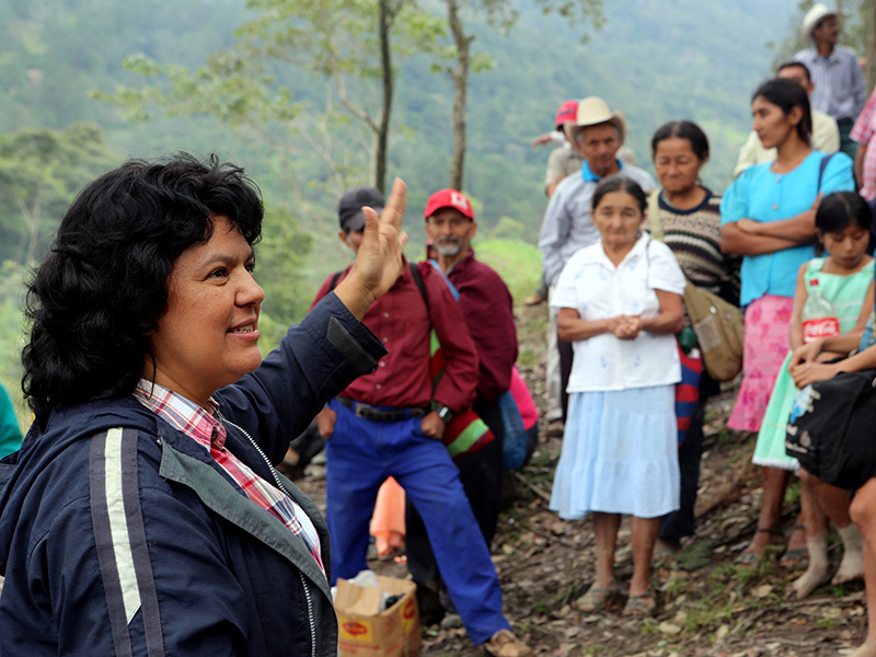 A local assembly of community members voting against the Agua Zarca dam in Honduras. Cáceres waged a grassroots campaign that successfully pressured the world's largest dam builder to pull out of the project.