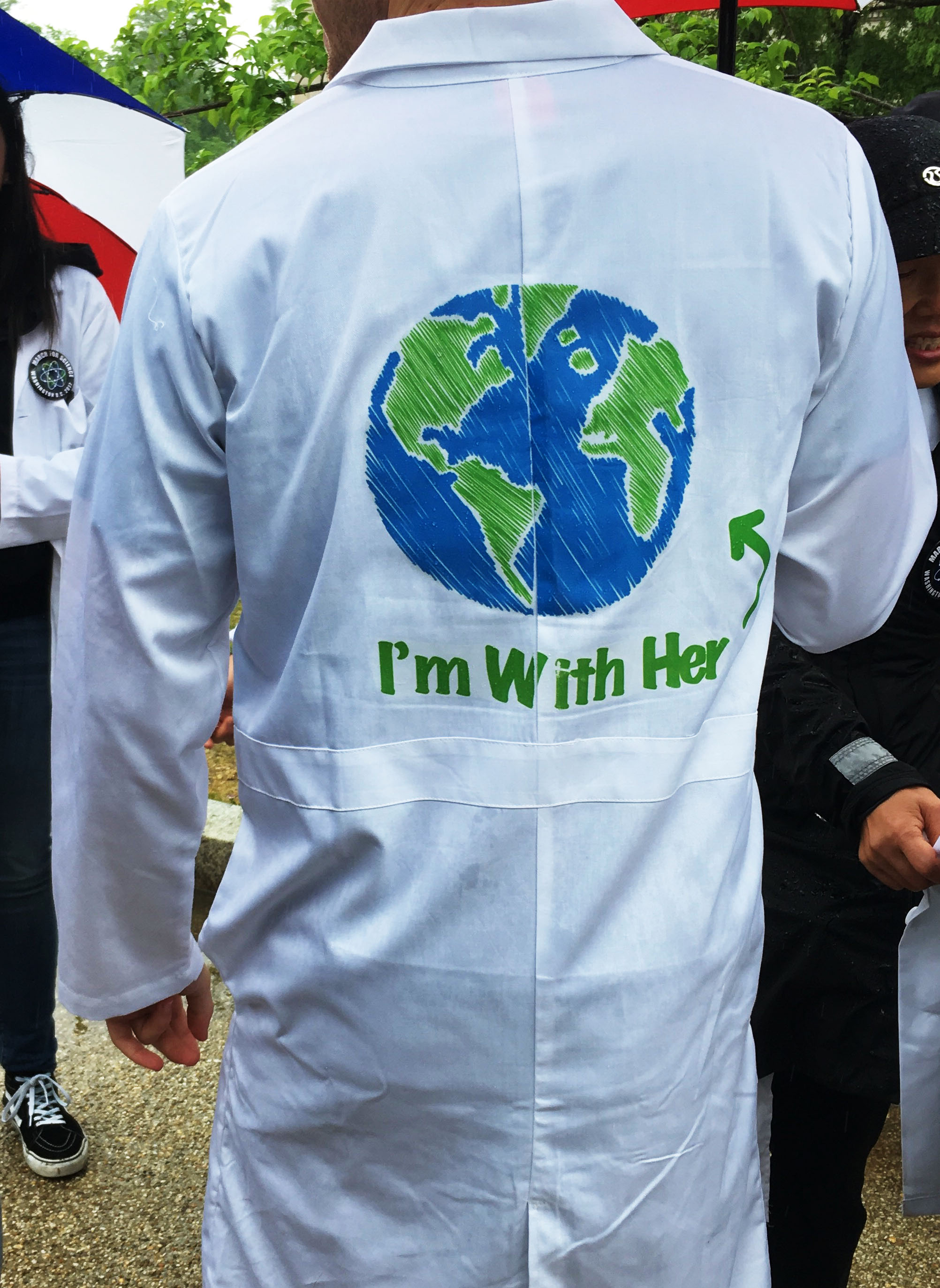 A participant in the March for Science shows off his costume.