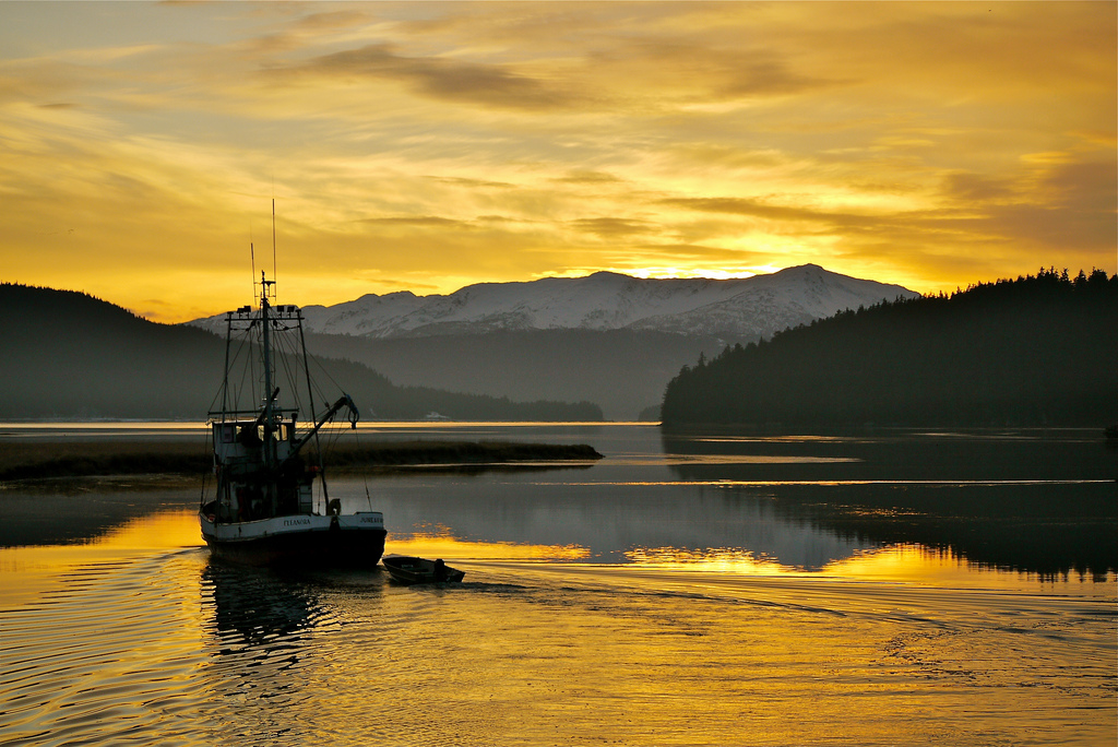 A fishing vessel along the Mendenhall River, near Juneau, Alaska.
