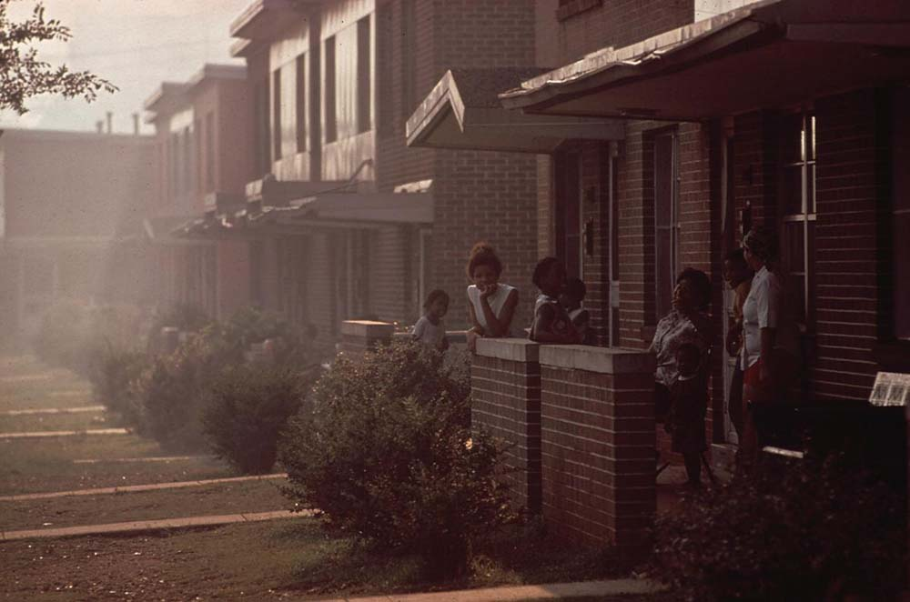 July, 1972: Day becomes night when industrial smog is heavy in North Birmingham, Alabama. Sitting adjacent to the U.S. Pipe plant, this is the most heavily polluted area of the city.