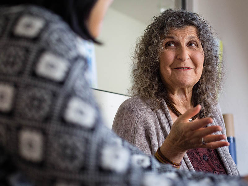 Arlene Blum talks with one of her colleagues at the Green Science Policy Institute in Berkeley.
