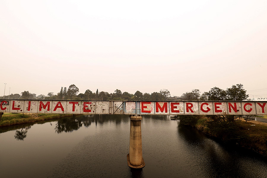 Graffiti is seen on a bridge on January 03, 2020, in Bairnsdale, Australia.