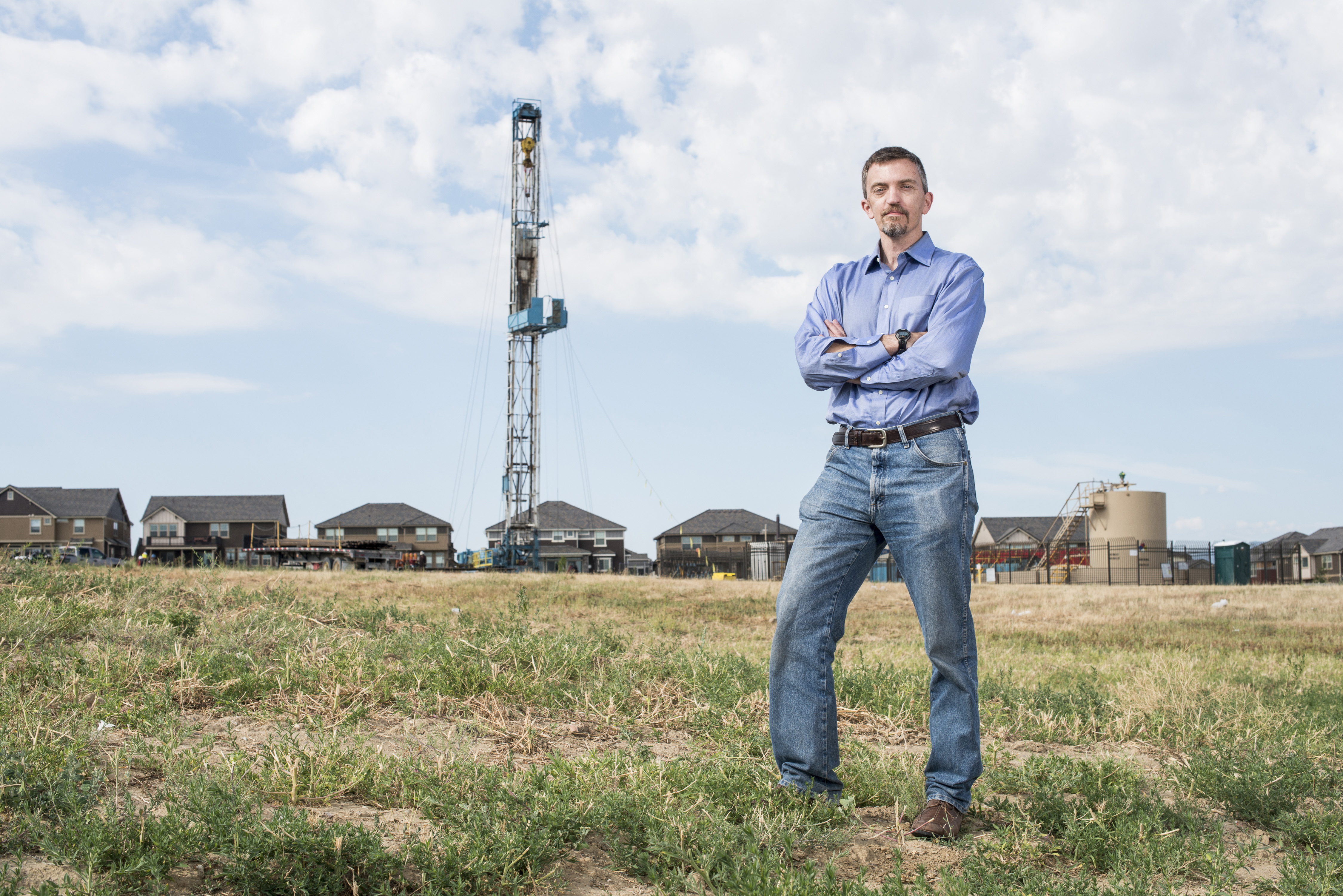 Earthjustice attorney Mike Freeman at an oil rig in Erie, Colorado