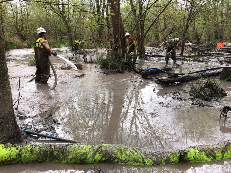 The cleanup effort following a spill from ETP's Rover pipeline in Stark County, Ohio.