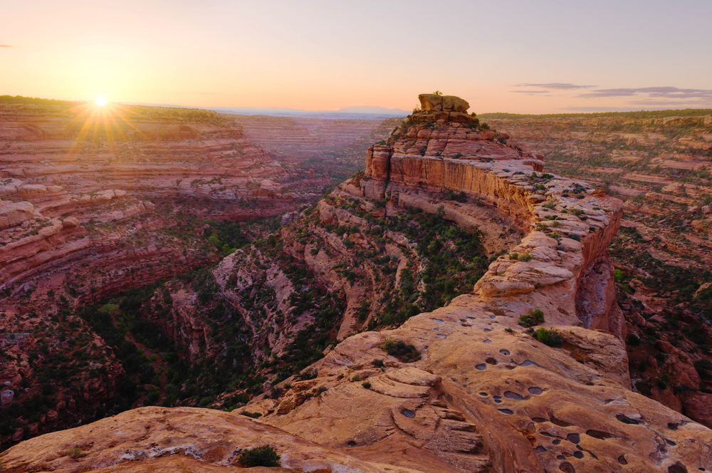 The sun sets on Cedar Mesa, in the Bears Ears region of southeastern Utah. Cedar mesa is a cultural landscape sacred to the Ute, Hopi and Navajo tribes and other Pueblo peoples.