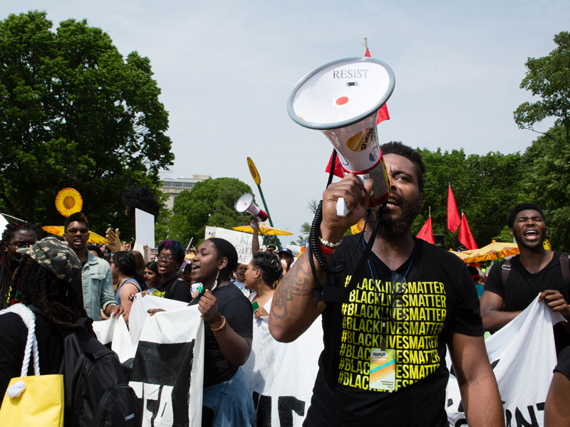 Black Lives Matter activists at the 2017 Peoples Climate March in Washington, D.C.