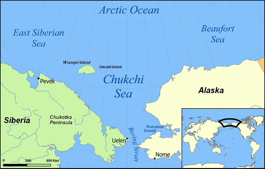 Map showing the location of the Chukchi Sea