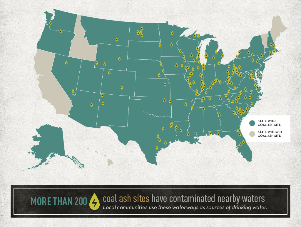 More than 200 coal ash sites have contaminated nearby waters. Local communities use these waterways as sources of drinking water.