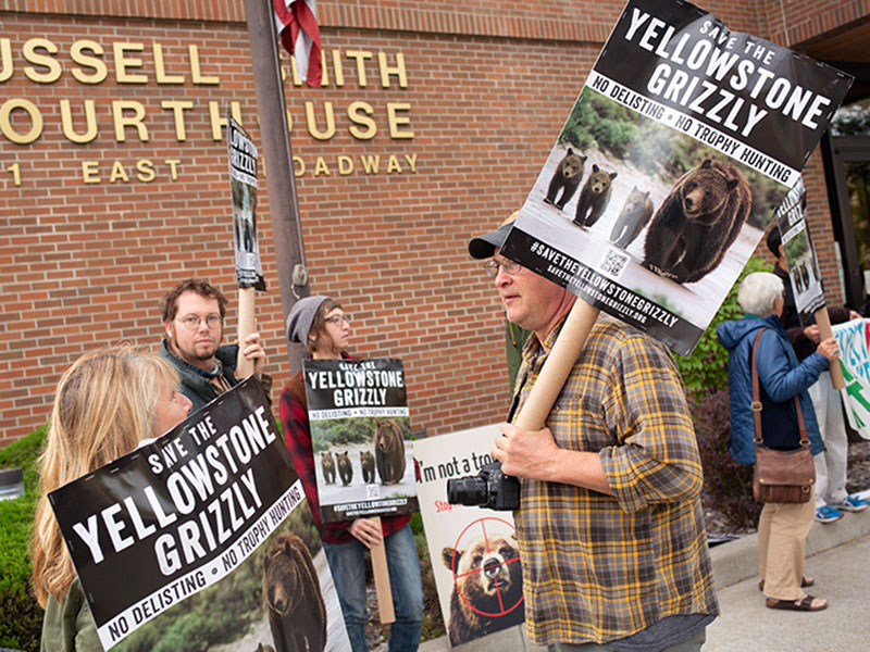 Protestors before Yellowstone grizzlies hearing.