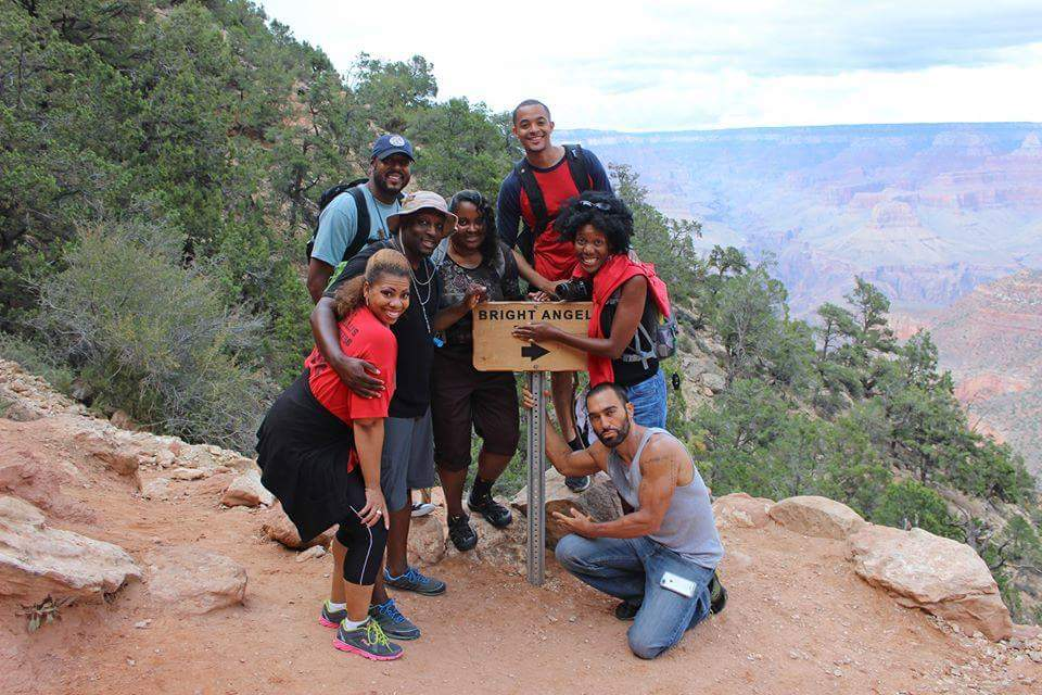 Teresa Baker and members of Diverse Environmental Leaders hiking the Grand Canyon.