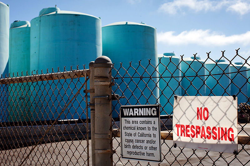 Storage tanks hold pesticides before they are applied to agricultural fields. (Dave Getzschman for Earthjustice)