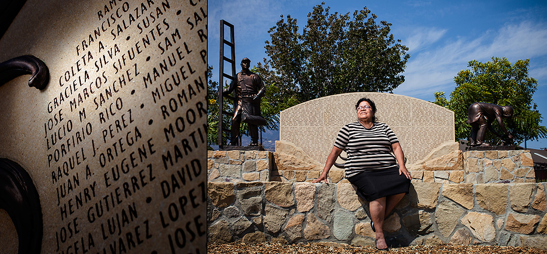 Graciela Silva worked for nine years in the fields harvesting lemons, lettuce, cucumbers, and strawberries.  Her name is listed on a monument honoring local farmworkers in Santa Paula, CA.