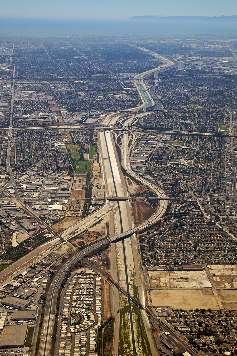 The 710 freeway cuts through the greater Los Angeles basin
