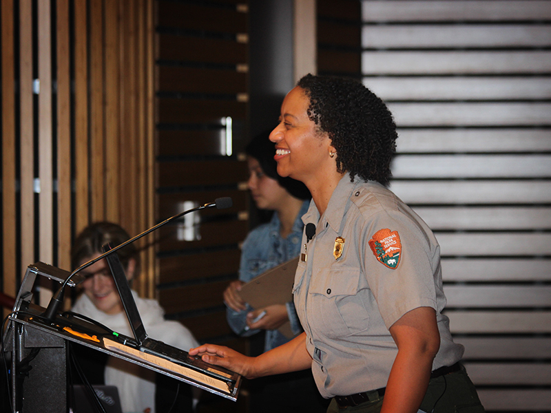 Park service representatives addressed the crowd at the David Brower Center.