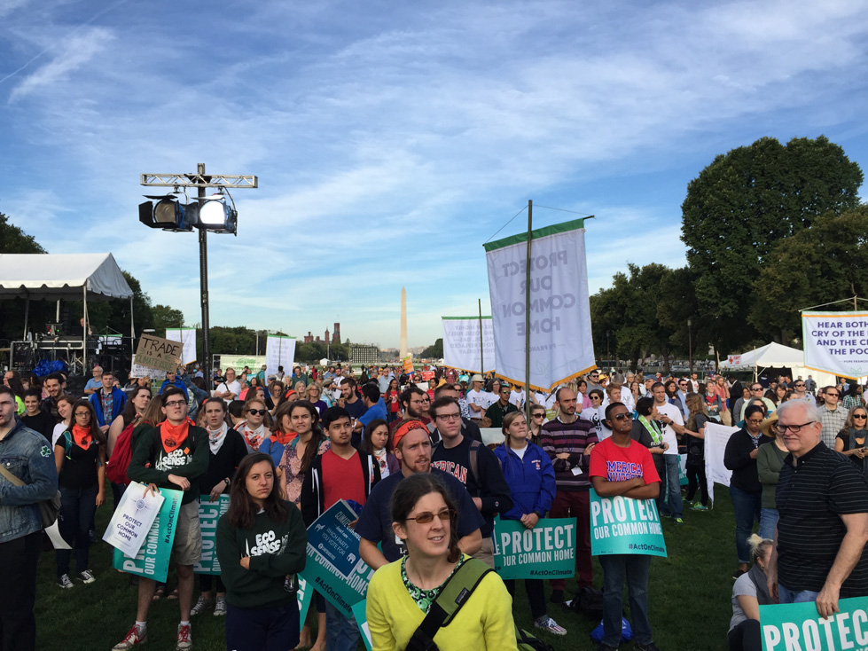 A crowd gathers to listen to Pope Francis at the Moral Action on Climate Justice rally in Washington D.C.