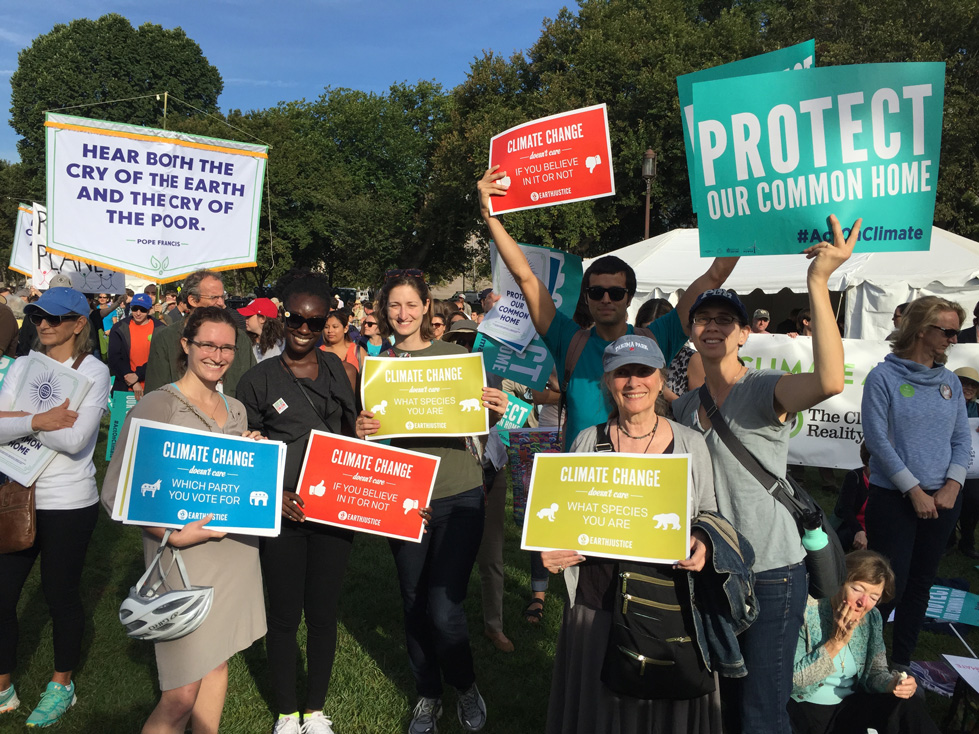 Earthjustice staff at the Moral Action on Climate Justice rally in Washington D.C.