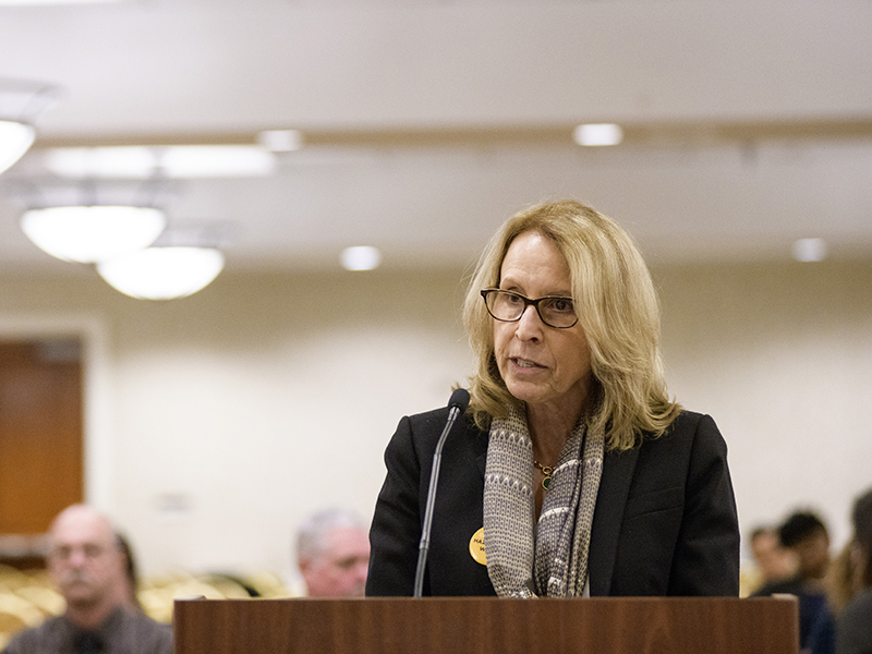 Earthjustice attorney Lisa Evans testifies during an EPA hearing on coal ash regulations in April 2018.