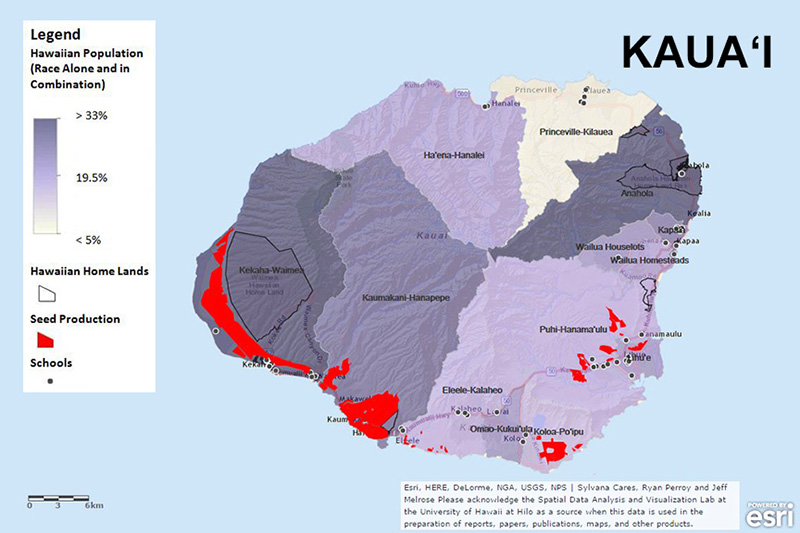 Map of Hawaiian population and home lands, seed production, and schools.