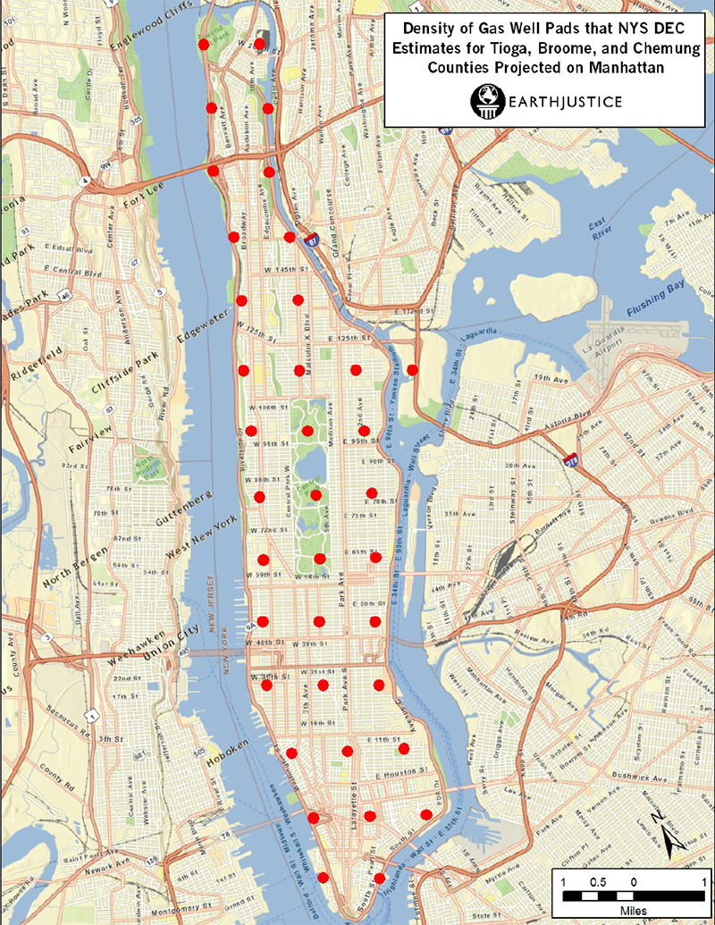 Map showing proposed density of gas wells, overlayed over Manhattan.