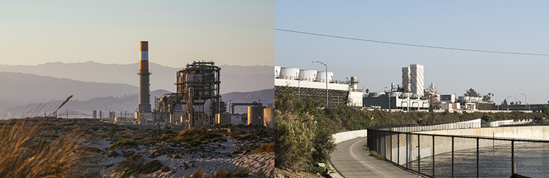 The Grayson Power Plant in Glendale, CA (right) and the Mandalay Generating Station in Oxnard, CA (left).