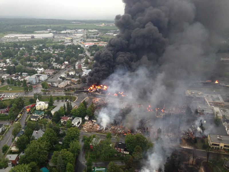 A crude-by-rail explosion in Lac-Mégantic, Canada in 2013