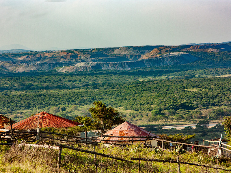 Coal mine in Somkhele viewed from Ocilwane village in Fuleni, KwaZulu-Natal.