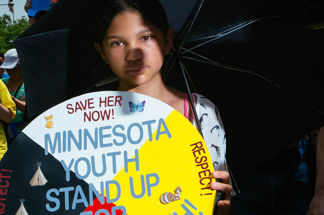 Selena Ramos of Saint Paul, MN, at the front of the Peoples Climate March.