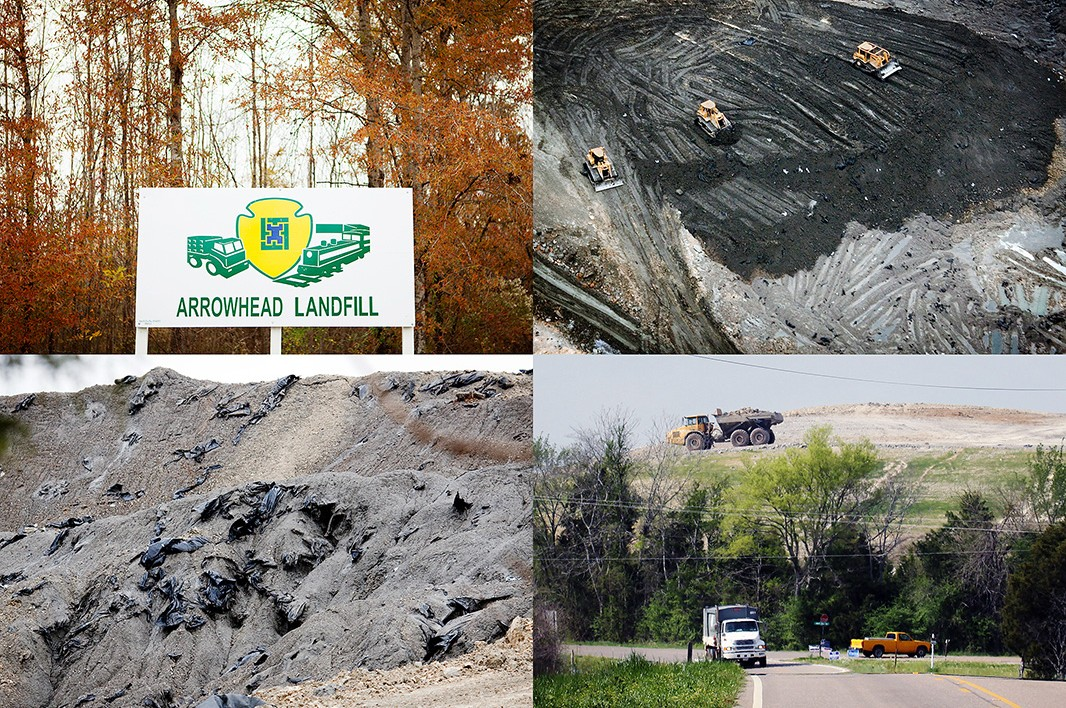 Soon after the coal ash arrived in Perry County, AL, construction began on a massive coal ash dump. The trash liners in the bottom left photo were used to hold the coal ash in place on the train as it left the predominantly white and middle class area of Harriman, TN. However, as soon as the coal ash arrived in Perry County, the liner was ripped off and the coal ash was dumped into the open landfill.