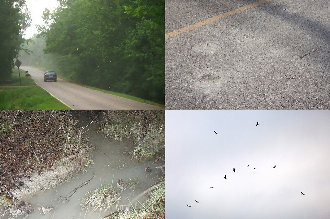 People have to live in airborne ash (top left), while the streets are covered in fugitive ash (top right). The pile started leaking into neighborhood yards (bottom left).