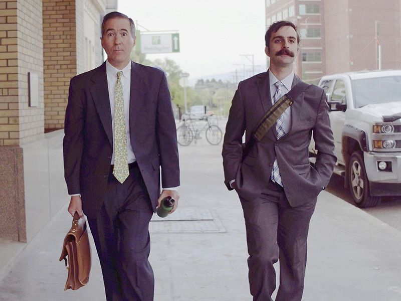 Earthjustice attorneys Tim Preso and Josh Purtle walking to the Russell Smith Courthouse in Missoula, Mont., on Aug. 30, 2018 — the day of the hearing.