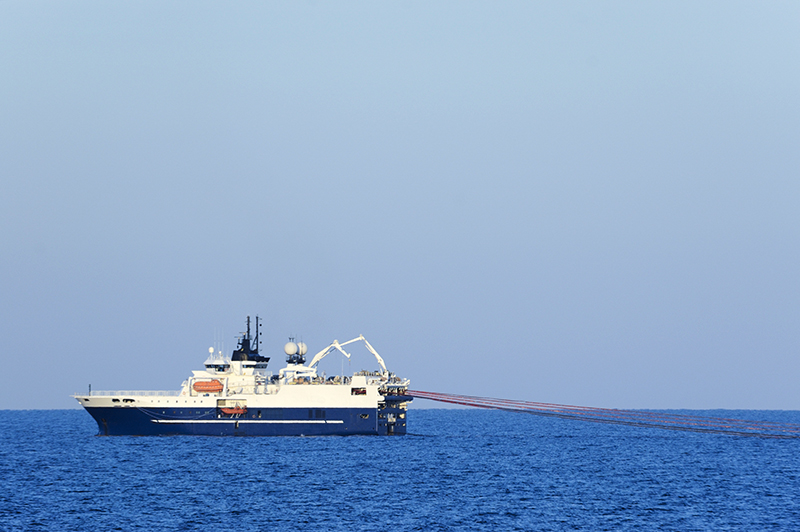 Seismic survey ships map the subsea geology using the seismic sound produced by air guns towed behind the vessel.