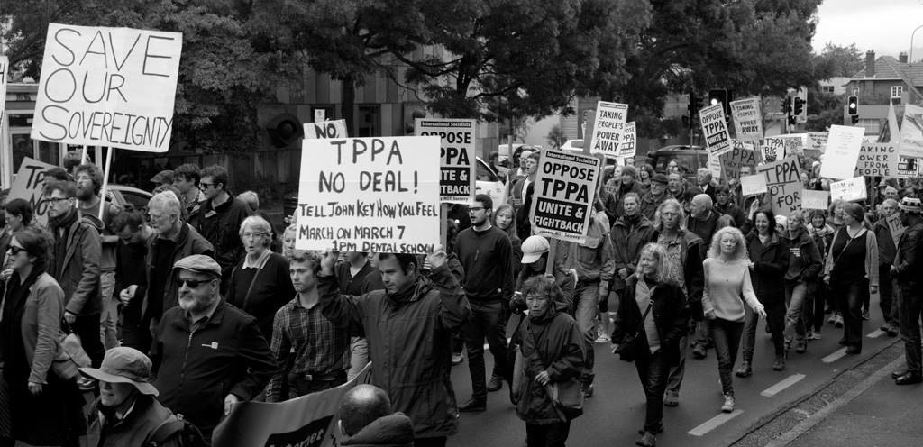 Protesters march against the Trans-Pacific Partnership Agreement in New Zealand on March 7, 2015.