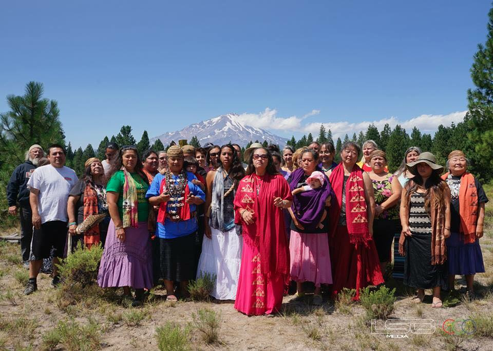 Members of the Winnemem Wintu and allies gather for a ceremony near Mt. Shasta, California.
