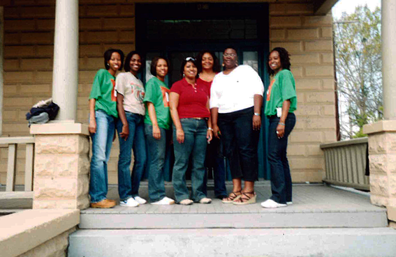 Adrienne Hollis and students