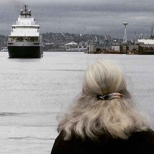 Shell's ice breaker ship Aiviq in Puget Sound at the the Port of Seattle on April 28, 2015.