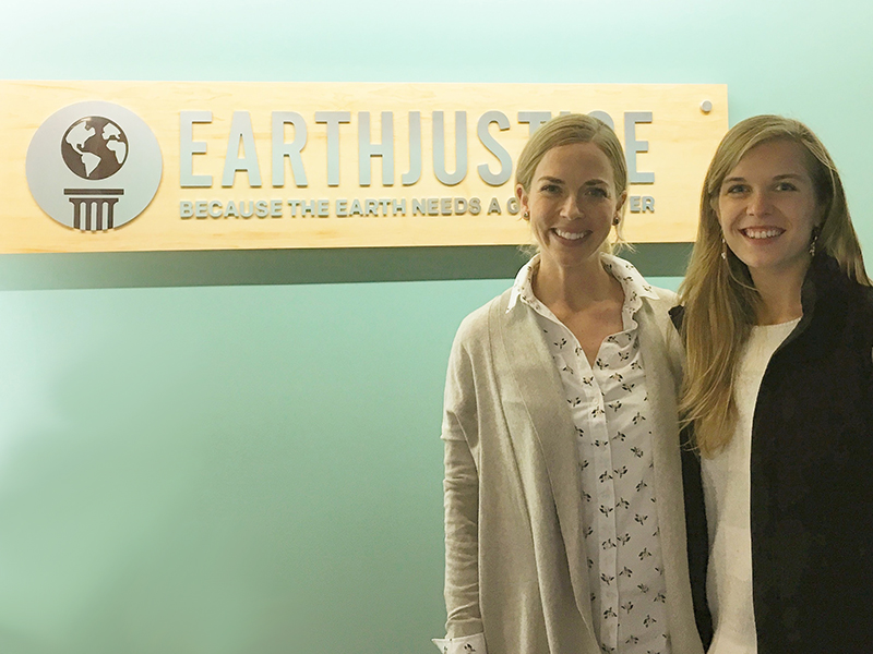 Anna Brezhneva (right) with Alice Engstrom (left), an Earthjustice individual gifts officer, at Earthjustice's headquarters in San Francisco, CA