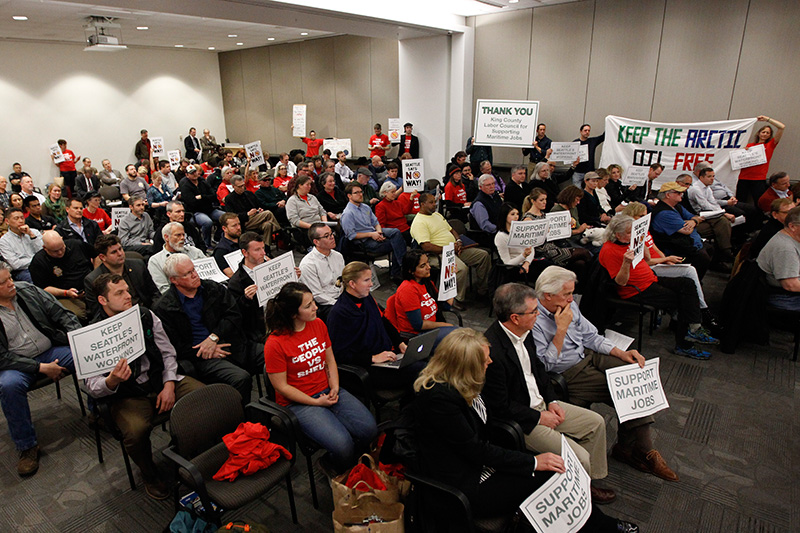 Seattle residents packed a Port commissioners meeting on the Terminal 5 lease on March 24, 2015.