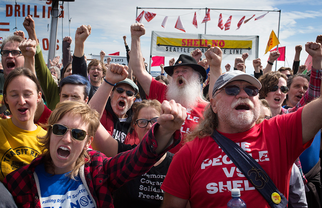 A rally on April 26, 2015, at Seattle's waterfront in opposition to the Port's lease to Shell's Arctic drilling fleet drew hundreds of impassioned supporters.