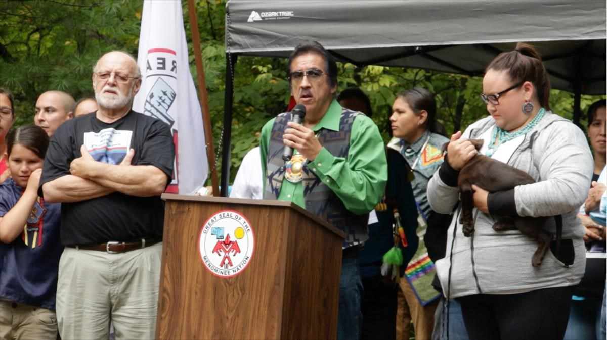Gary Besaw, chairman of the Menominee Indian Tribe of Wisconsin, speaks out in opposition of the Back 40 mine.