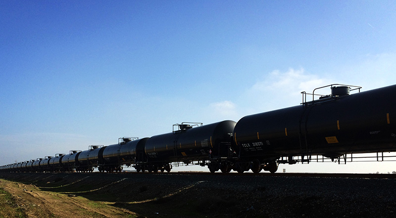 An oil train in California's Central Valley.
