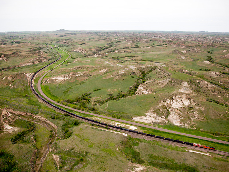 A 90+ car train carrying Bakken crude oil travels through North Dakota.