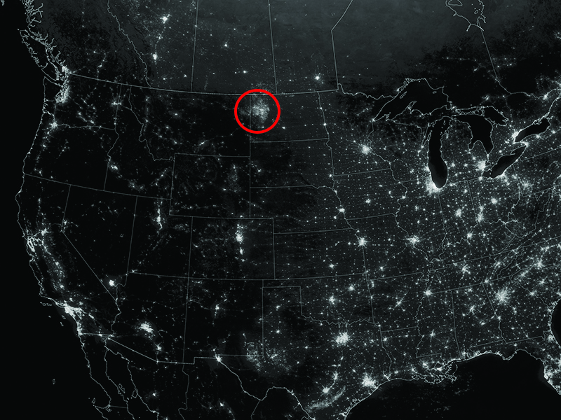 Northwestern North Dakota is one of the least-densely populated parts of the United States, but satellite imagery shows the area aglow at night in recent years from natural gas flares.